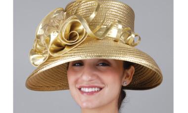 Wide Brim Gold Metallic Hat