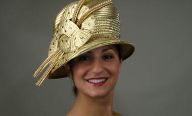 Small Brim Gold Ribbon Hat